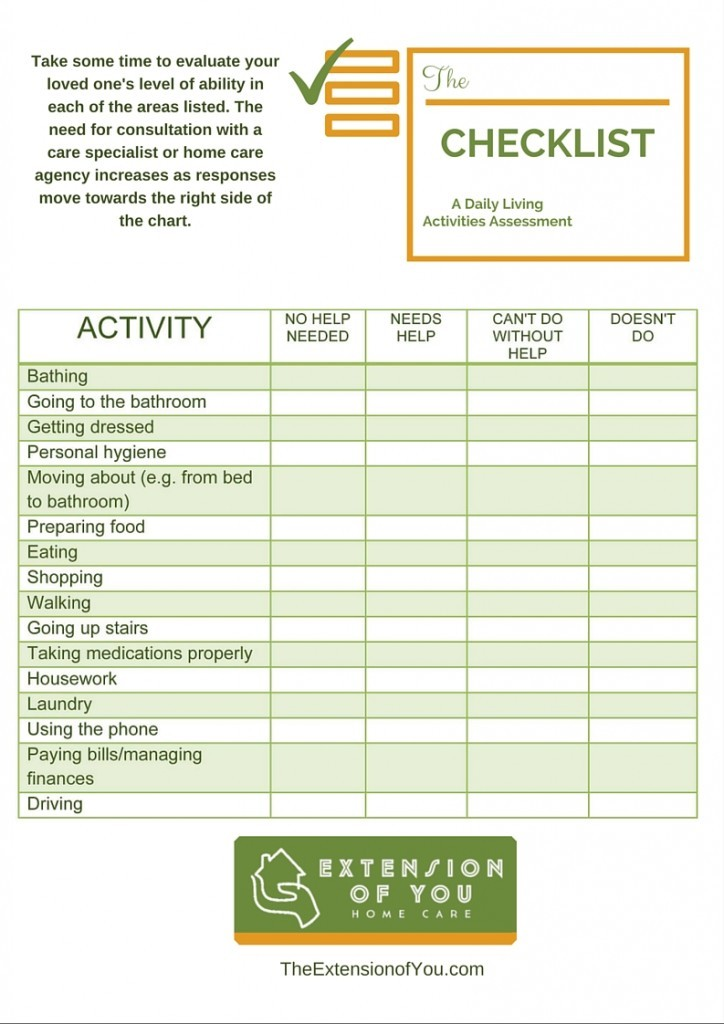 ADL Checklist | Extension of You Home Care